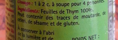 Thym feuilles aromatiques - Ingrédients