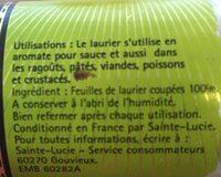 Laurier feuilles coupées - Ingrédients - fr