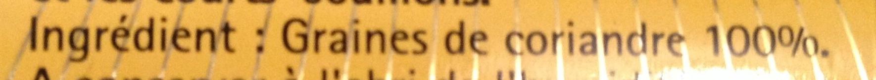 Coriandre graines - Ingrédients - fr