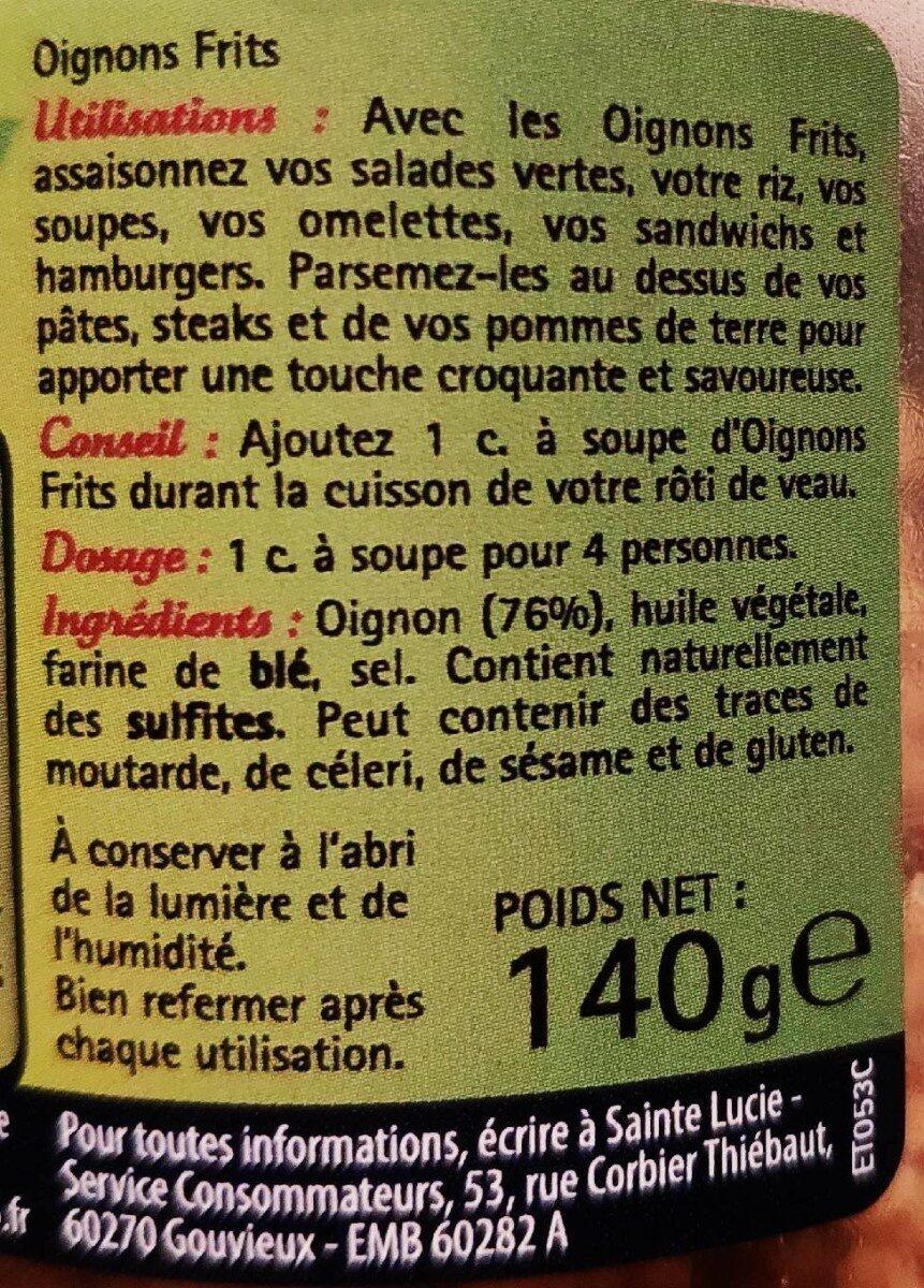 Oignons frits - Voedingswaarden - fr