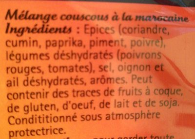 Mélange couscous à la marocaine - Ingredients