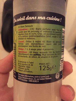 Ail Semoule - Ingrédients