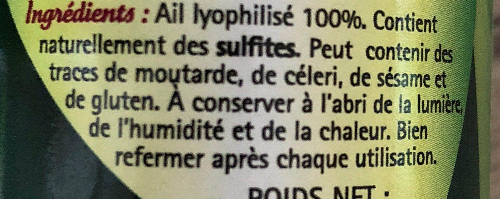 Ail lyophilisé - Ingrediënten - fr