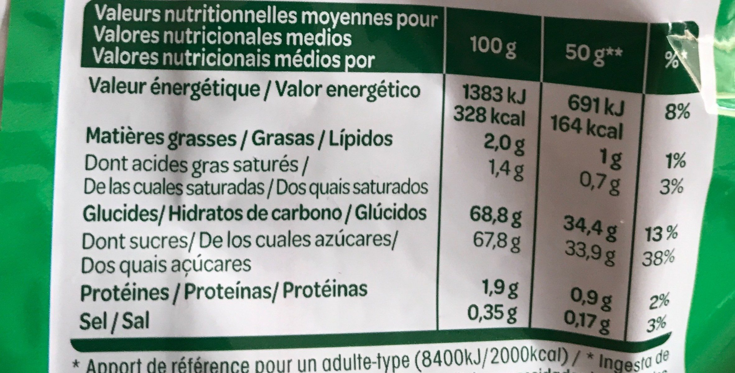 crousti pom - Nutrition facts