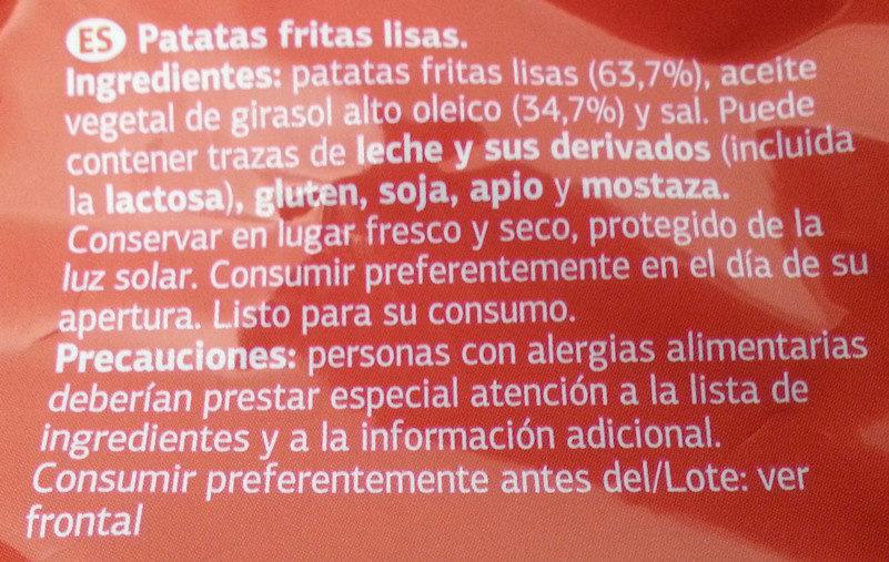 Patatas fritas lisas - Ingredients - es