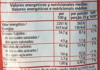 Patatas fritas lisas - Información nutricional - es