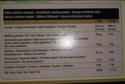 Tartelettes Feuilletees LS 3 Toques X 9 99G - Informations nutritionnelles - fr