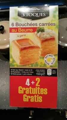 6 bouchées carrées au beurre à garnir - Produit