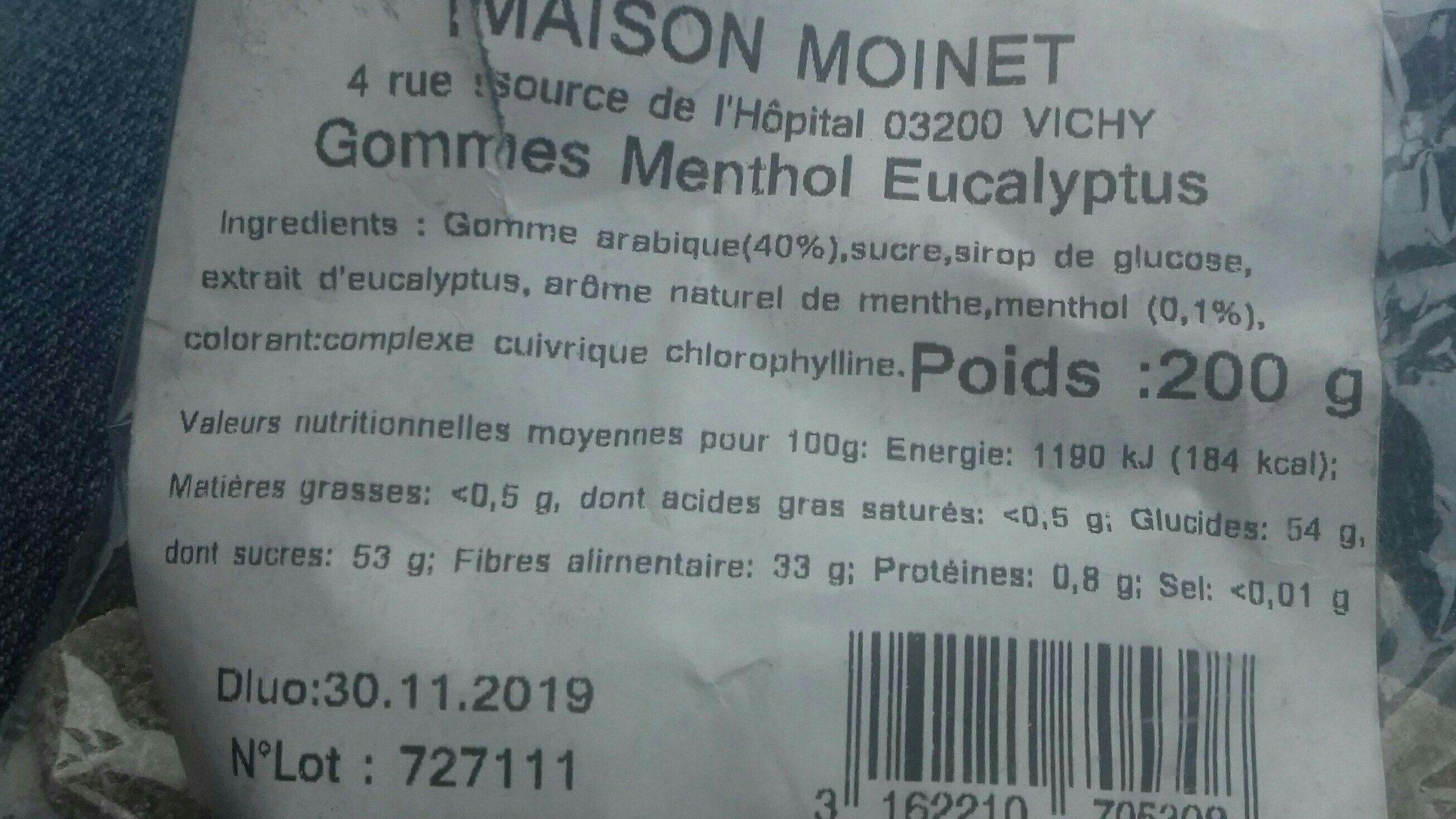 Gommes véritables menthol eucalyptus - Ingrediënten