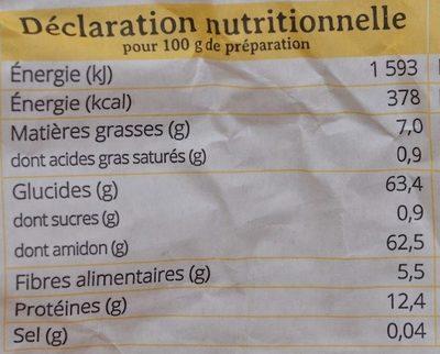 Céraine - Informations nutritionnelles