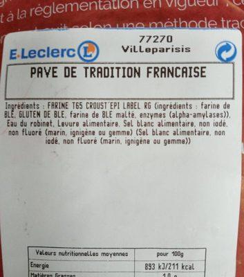 Pave tradition française - Ingrédients - fr