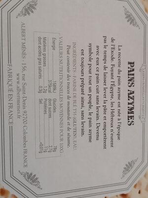 Pains Azymes - Ingrédients - fr