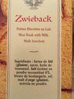 Zwieback - Petites Biscottes Suisses au Lait - Ingrédients - fr