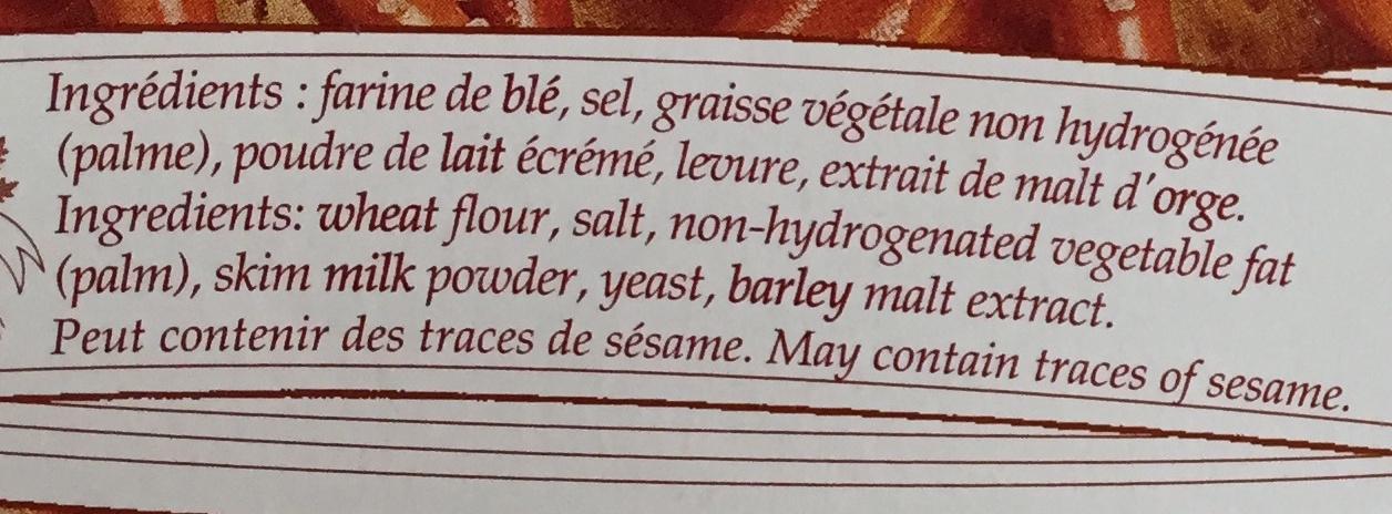 Bretzels - Ingrédients - fr
