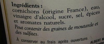 Cornichons Aigres Doux de France - Ingrédients