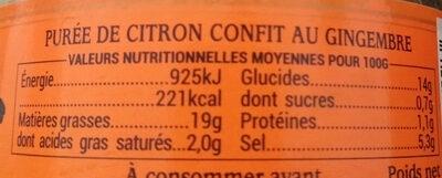 BIO Pâte de Citron Confit au Gingembre - Informations nutritionnelles - fr