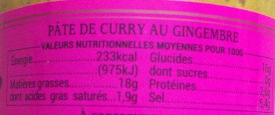 BIO Pâte de Curry au Gingembre - Nutrition facts - fr