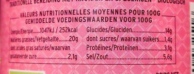 BIO Pâte de Curry au Gingembre - Informations nutritionnelles