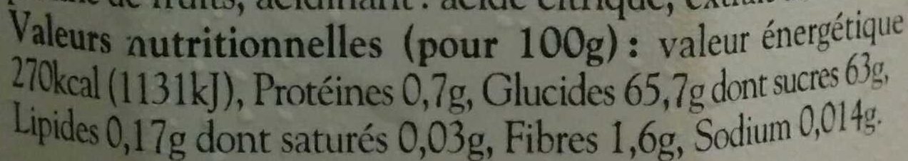 Confiture Extra de Figue Violette - Nutrition facts