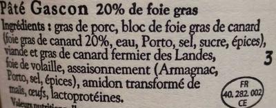 Pâté Gascon au bloc de Foie Gras de Canard - Ingrédients - fr