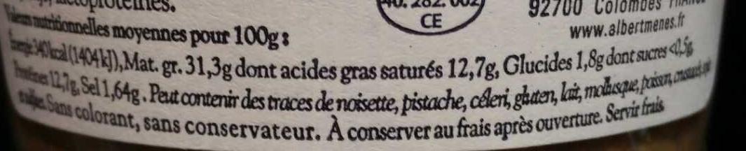 Pâté Gascon au bloc de Foie Gras de Canard - Informations nutritionnelles - fr
