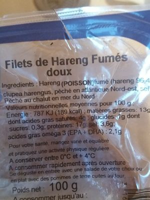 Filets de hareng fumés - Ingrédients - fr