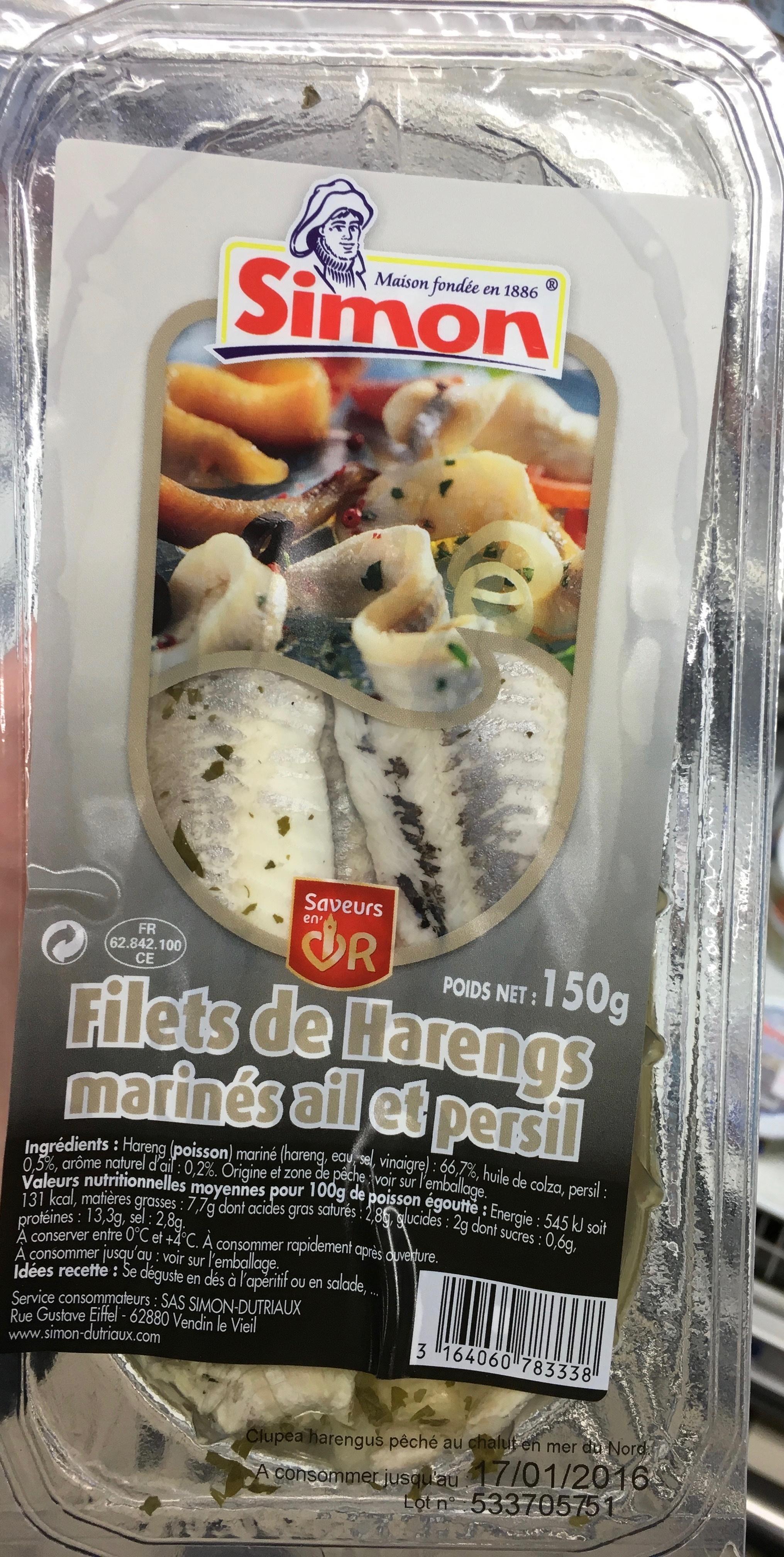 Filets de Harengs marinés ail et persil - Produit - fr