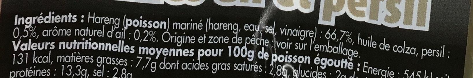 Filets de Harengs marinés ail et persil - Ingrédients - fr