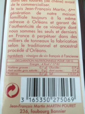 Vinaigre De Vin Rouge D'Orléans à L'ancienne - Ingredients - fr