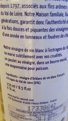 Vinaigre Vin Blanc Estragon du val de loire - Ingredients