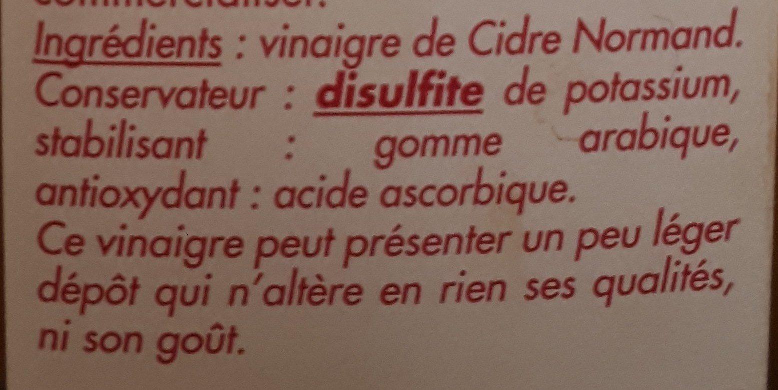 Vinaigre de Cidre Normand - Ingrediënten - fr