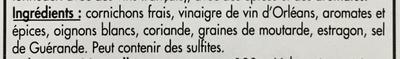 Cornichons Français extra-fins au vinaigre d'Orléans - Ingrédients