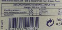 Moutarde d'Orléans à la tomate - Nutrition facts
