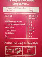 Sucre en poudre - Información nutricional