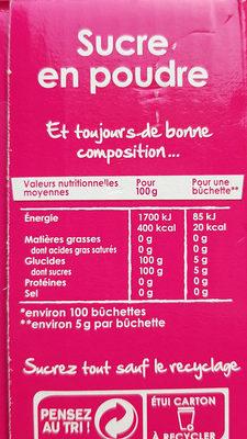 Distributeur de buchettes - Informations nutritionnelles