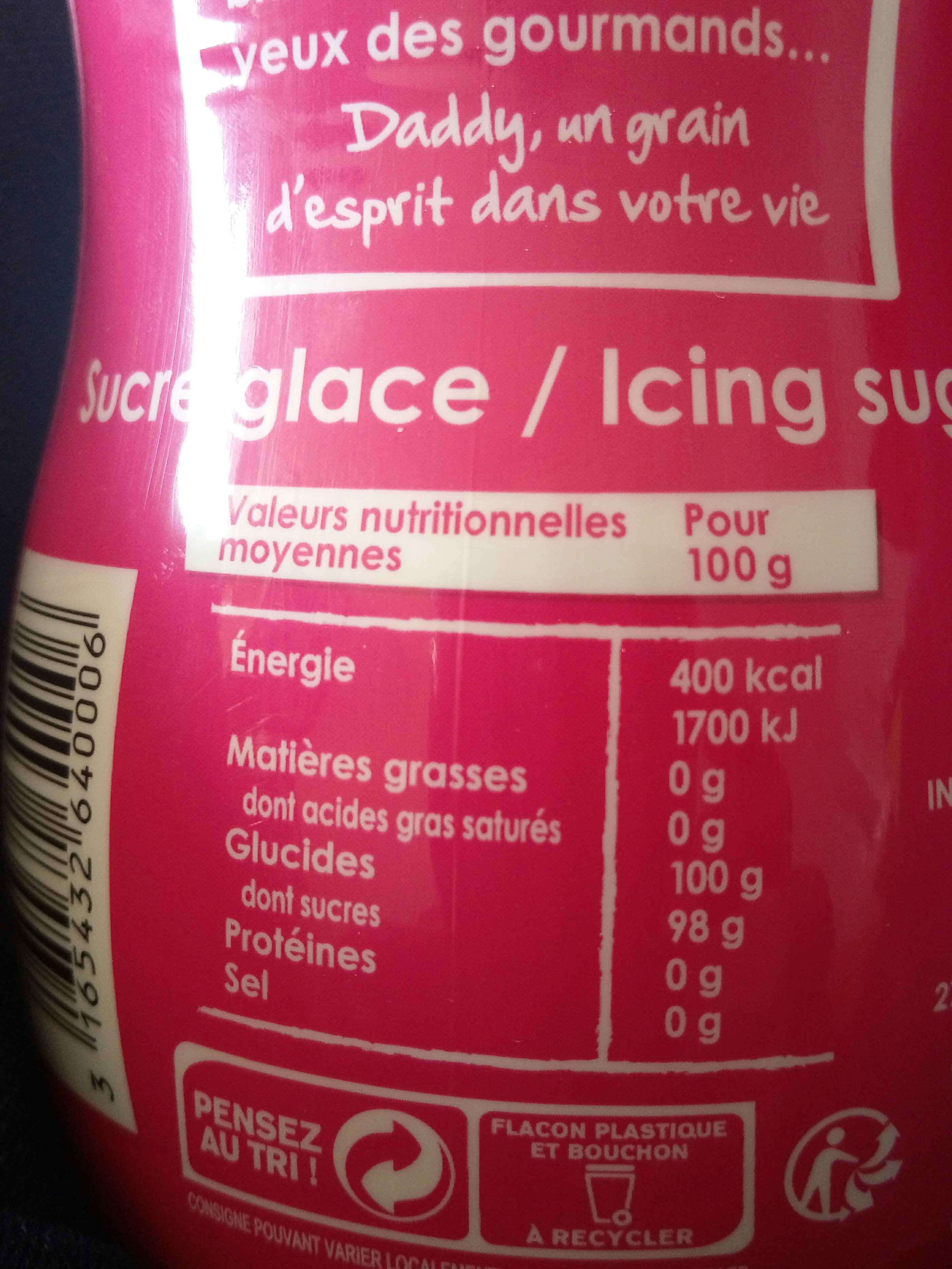 Sucre glace - Nutrition facts