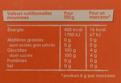 Petits Sucres Morceaux Pur Canne - Nutrition facts - fr