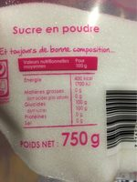Sucre en poudre - Informations nutritionnelles