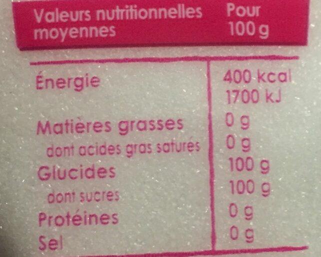 Sucre en poudre - Nutrition facts - fr