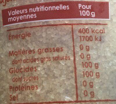 Sucre de canne - Nutrition facts - fr