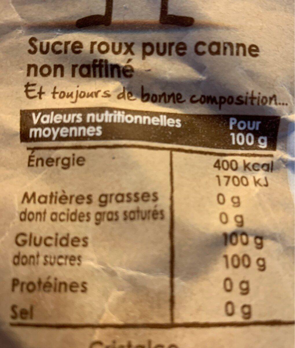 Ppk cassonade pure canne kraft - Nutrition facts - fr