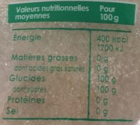 Sucre pure canne bio - Nutrition facts - fr