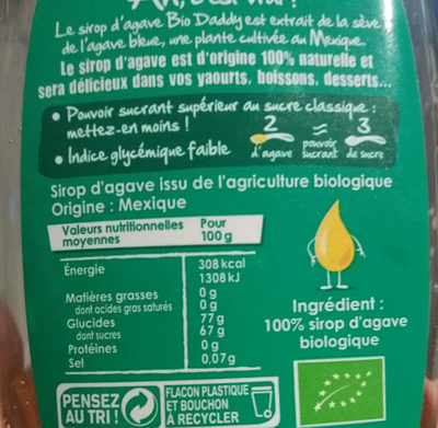 Daddy - Sirop d'agave - Ingredients