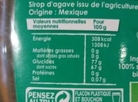 Daddy - Sirop d'agave - Nutrition facts