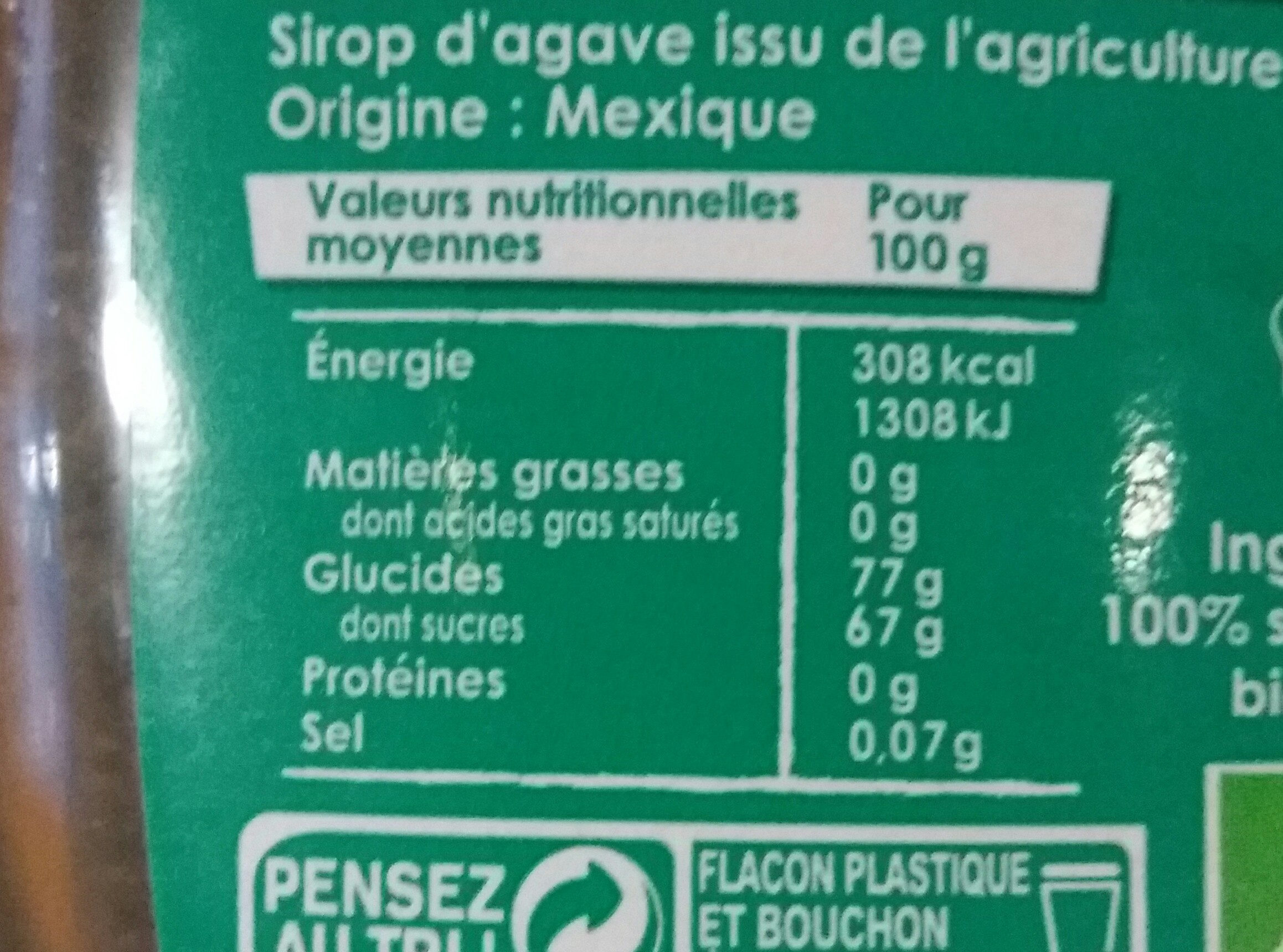 Daddy - Sirop d'agave - Informations nutritionnelles