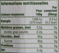 Truvia - Informations nutritionnelles