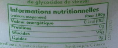 Truvia - Informations nutritionnelles - fr