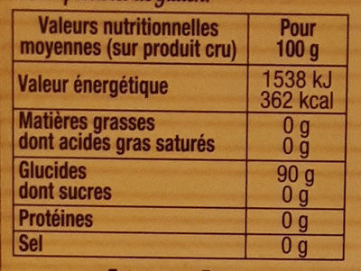 Tapioca Express - Informations nutritionnelles