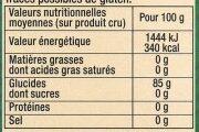 Fécule - Voedingswaarden - fr