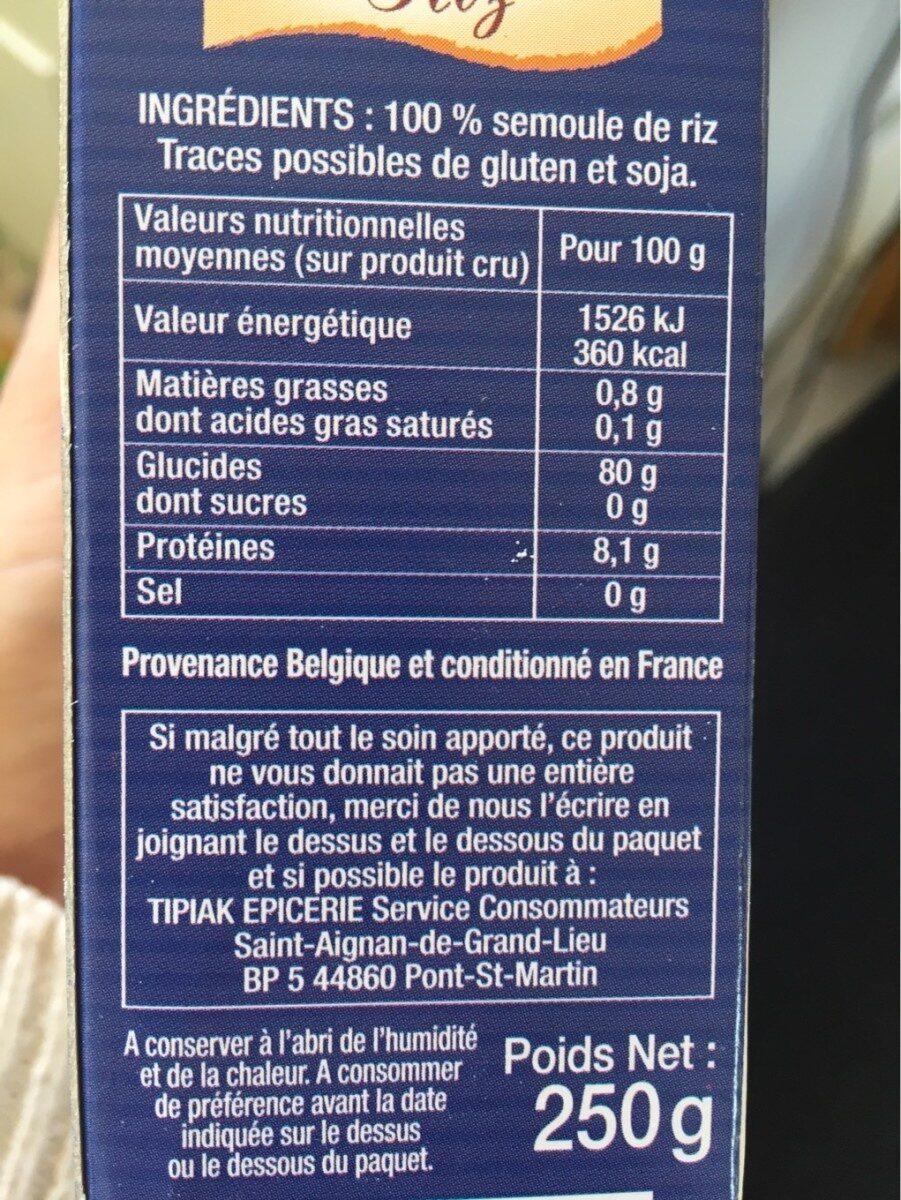 Semoule de riz - Informations nutritionnelles - fr